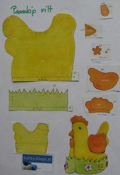 Eierwarmer kip maken van vilt, dus eenpaaskip voor op de ontbijttafel. Met dit patroon maak je een mooie eierwarmer. Knip de onderdelen uit het vilt