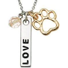 Signs and Plaques 46299: Rockin Doggie Collar Charms Paw Necklace, Love Bar And Pink Crystal Bead BUY IT NOW ONLY: $32.79
