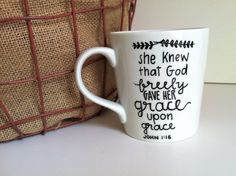 Grace Upon Grace Bible Verse Ceramic Coffee by MorningSunshineShop
