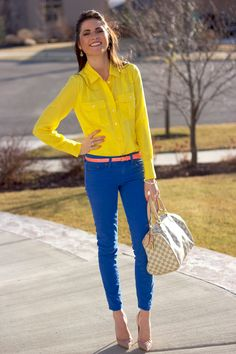 cobalt jeans + yellow blouse