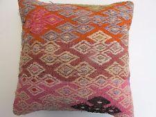 "Hand Made Turkish Kilim Rug Pillow Cover 16"" X 16"""
