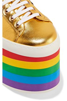 Gucci - Metallic Leather Platform Sneakers - Gold - IT37.5