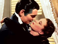 Vivien Leigh and Clark Gable in GONE WITH THE WIND (1939, dir. by Ian Fleming).