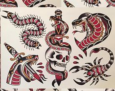 Sailor Jerry x Ed Hardy Old School Vintage Tattoo Flash Poster Print Traditional Tattoo Artwork, Traditional Tattoo Black And White, Traditional Tattoo Old School, Traditional Tattoo Design, Traditional Tattoo Flash, Traditional Tattoo Leg Sleeve, Ed Hardy Tattoos, Leg Tattoos, Tattoos For Guys