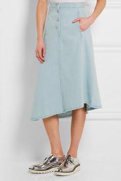 Acne Studios | Kady asymmetric denim midi skirt | NET-A-PORTER.COM