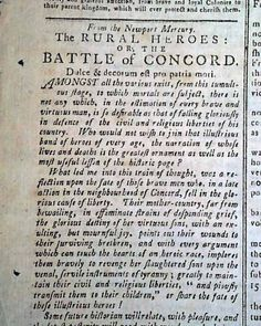 Historic Newspaper with Battle of Lexington Concord and the Taking of Ticonderoga content: THE NEW-ENGLAND CHRONICLE OR ESSEX GAZETTE, Cambridge, Massachusetts, May 18, 1775.