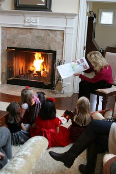 Gingerbread house party complete with story time by the fire!