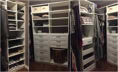 A simple white melamine walk-in closet for small spaces.  Learn more here: https://www.closetfactory.com/custom-closets/ Walk In Wardrobe, Wardrobe Ideas, Walk In Closet, Small Space Organization, Garage Organization, Custom Closets, Master Closet, Master Bedroom, Autumn Home