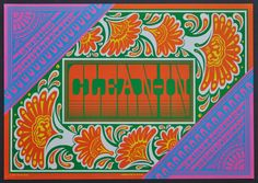 """Victor Moscoso, Neon Rose #15, """"Clean-In"""", an original lithograph poster advertising a neighborhood cleanup effort in Haight-Ashbury, 1967."""