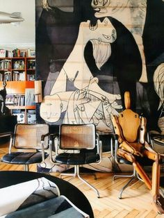 "though I definitely wouldn't have picked Picasso's ""Guernica,"" a large-scale vinyl mural of an art reproduction seems like a good idea; relatively low-cost, but very high-impact (Ricardo Labougle) Decoration Inspiration, Interior Inspiration, Design Inspiration, Decor Ideas, Room Ideas, Room Inspiration, Bed Ideas, Interior Ideas, Deco Paris"
