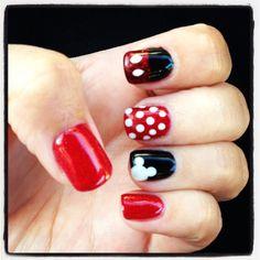 Mickey Image via Lovely Cartoon Themed Nails for the Week Image via Mickey Mouse Nails Mickey Mouse Nail Art, Mickey Nails, Mickey Head, Minnie Mouse, White Nails, Red Nails, Hair And Nails, Nail Art Designs, Nails Design