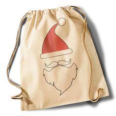 """Turnbeutel - """"Santa's beards two""""  Cotton Gymsac - natur - ein Designerstück von MAD-IN-BERLIN bei DaWanda"""