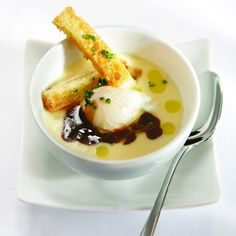 Poached Quail Egg in Chevalier Brie Triple Crème, Veal Jus Reduced With Chives, and Brioche Mouillettes with Truffle Oil Toast In The Oven, Brioche Bread, Truffle Oil, Quail Eggs, Brie, How To Cook Eggs, Food Presentation, No Cook Meals, Truffles