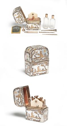 Flaconnier-nécessaire, 1762/1768, France. Crystal, gold, ivory, argent