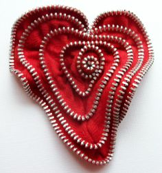 Red Valentine Heart Zipper Pin Brooch  by ZipPinning 3076 by ZipPinning on Etsy