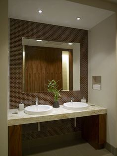executive restroom great design and use of space clear space under counter - Restroom Design