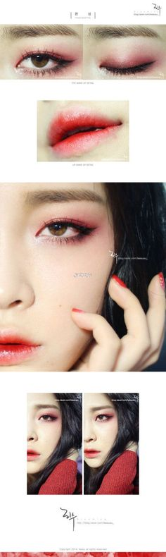 Link to a tutorial from a Korean magazine. Stuff I could never pull off -- bright red eye, gradient/bitten red lip -- but it's just fantastic! Especially that monolid eyeshadow technique, there's a few ideas in there I haven't seen before.