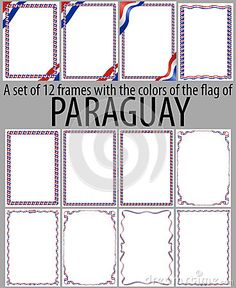 Set of 12 frames with the colors of the flag of Paraguay.