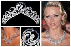 The Ocean Necklace Tiara. The tiara was created for Charlene by Van Cleef & Arpels. It was commissioned as Prince Albert's wedding gift to his new wife. To symbolize Monaco's maritime nature, the tiara was designed with to mimic the waves of the ocean. Royal Crown Jewels, Royal Crowns, Royal Tiaras, Royal Jewelry, Tiaras And Crowns, Fine Jewelry, Vintage Jewelry, Princesa Charlene, Queens Tiaras
