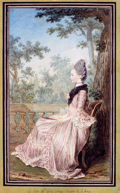 Portrait of Mlle Fabre, Later Baroness de la Houze by Louis Carrogis Carmontelle, 1760's-70's France, Winterthur Museum