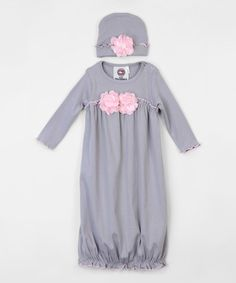 Another great find on #zulily! Gray Pearl Rosette Gown & Beanie - Infant #zulilyfinds