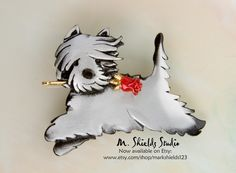 Collectible Westie dog Pin / Pendant handmade in pewter by animal artist Mark Shields. In this design I want to convey a joyful, impish mood that Westies are often seen expressing, and what makes West Highlands such a beautiful breed to enjoy. Wear as a pin or as a pendant. The pinback is riveted into place. This Westie dog carries a Red Rose, universal symbol for Unconditional Love. Artfully gift boxed, ready to give a lover of this breed. https://www.etsy.com/shop/markshields123