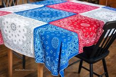 Bandanna Tablecloth for Cowgirl/G.R.I.T.S. party http://www.madefrompinterest.net/2014/06/4th-july-bandanna-tablecloth/