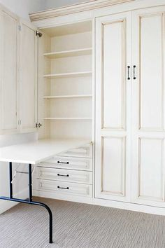 """""""murphy table"""".... how great is this for a scrapbook/craft room in a small space?... even some shelves for storage of skinny items like wood stamp collection!"""