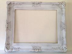 Extra large 37x31 shabby chic open frame, vintage, Wedding, white and gold by MySugarBlossom on Etsy