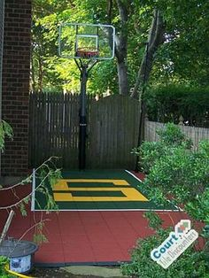 Backyard Sport Court Ideas find this pin and more on my outdoor entertaining sport court Small Backyard Basketball Court