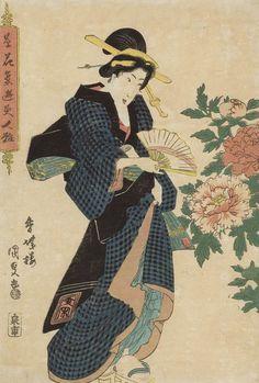 Peonies. Ukiyo-e woodblock print. Mid 1800's, Japan, by artist Utagawa Kunisada I