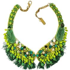 Radà Green Crystal and Bead Fringed Necklace ($268) ❤ liked on Polyvore featuring jewelry, necklaces, accessories, collares, jewels, beaded fringe necklace, tassel necklace, green necklace, crystal bead necklace and beaded tassel necklace