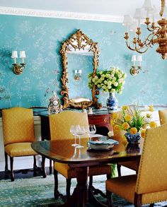 Schuyler Samperton.  Love those walls! -- Also surprised how well the blue and white porcelain goes with it...