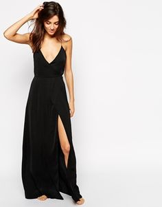 ASOS Satin Split Front Maxi Slip BEAUTIFUL spaghetti straps too $56