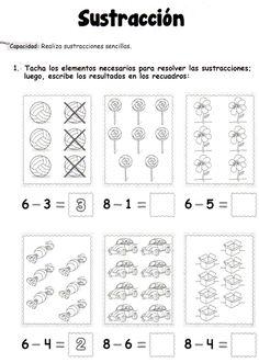 Actividad a realizar: Tacha los elementos necesarios para resolver las sustracciones; luego, escribe los resultados en los recuadros. Sustracción: Realiza sustracciones sencillas.