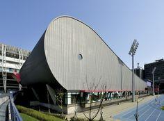 Songshan Sports Center, Taipei (Taiwan) by Archasia Design Group   #architecture #VMZINC #zinc #facade #Asia #China #Taiwan #QuartzZinc
