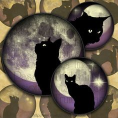 Black Cats on Midnight Skies 1 inch Circles by PassionFruitsImages, $3.75