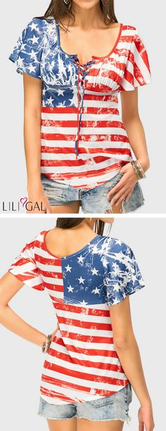 Stripe Print Curved Short Sleeve T Shirt 4th Of July Dresses, 4th Of July Outfits, 4th Of July Swimsuits, Striped Swimsuit, Fashion Outfits, Womens Fashion, Fashion Art, Stripe Print