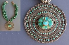 by Micheal Beste | Necklace made from a lovely old pendant from Kashmir, North India, which he has combined with five strings of small turquoise, silver beads and silver closing. | Euro 720