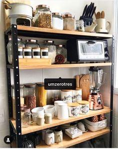 Best Kitchen Appliance Storage Rack Design Ideas For You 31 Kitchen Appliance Storage, Kitchen Organisation, Kitchen Rack, Home Organization, Kitchen Storage Racks, Kitchen Appliances, Rustic Kitchen Design, Home Decor Kitchen, Country Kitchen