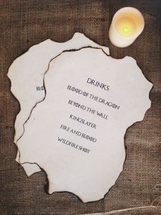 Game of Thrones Party Set - GOT Drinks Menu