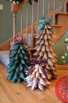 DIY Christmas paper tree tutorial - I might use felt or fabric. Cone Christmas Trees, Noel Christmas, All Things Christmas, Christmas Wreaths, Christmas Ornaments, Cone Trees, Christmas Wrapping, Cheap Christmas, Outdoor Christmas