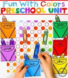 Color Worksheets Join our Email Group for Ideas, Freebies & Special Offers.Do you need fun color worksheets and centers for teaching preschool kids about col Color Worksheets For Preschool, Preschool Art Projects, Preschool Colors, Preschool Centers, Preschool Lesson Plans, Preschool Themes, Color Activities, Classroom Activities, Preschool Crafts