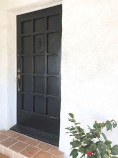 A black front door o
