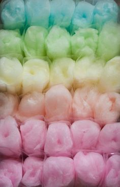 cotton candy in colorful rows looks even more amazing