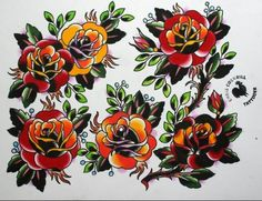 american traditional flower stencils | traditional rose tattoo flash