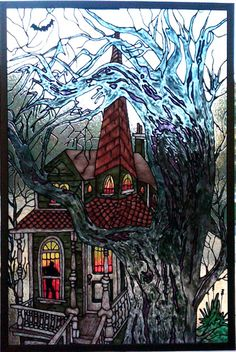 Gallery Glass patterns: haunted house, and various Halloween and autumn designs