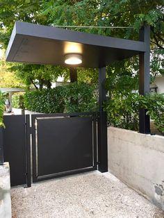 Steel Gate Design, Main Gate Design, House Gate Design, Door Gate Design, Front Gates, Entrance Gates, Garden Doors, Garden Gates, Modern Fence Design