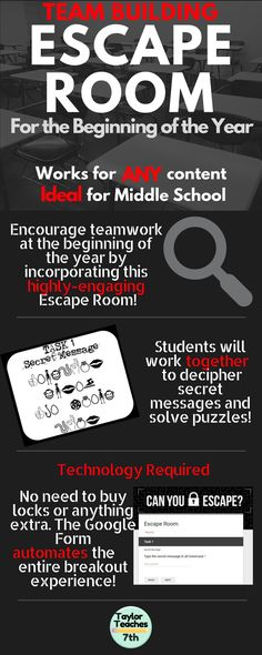 Escape Room – Team Building – Any Content GALA ideals and information themed, solved in small advisory groups Middle School Classroom, Middle School Science, Future Classroom, Middle School Advisory, Back To School Gifts For Teachers, Beginning Of The School Year, First Day Of School, Escape Room Team Building, Breakout Edu
