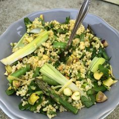 Warm Millet Salad with Asparagus, Leeks and Pistachios | Cook Eat and Smile